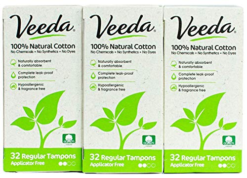 Veeda Natural All-Cotton Tampons, 96 Ct Regular, Non-Applicator, 3 Packs of 32 Count