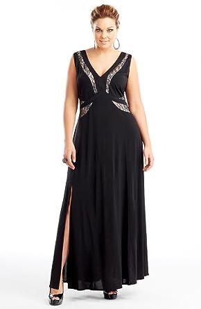 Dream Diva Women\'s Lace Panel Evening Dress Plus Size 24 Black at ...