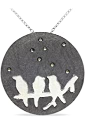 """Sterling Silver Marcasite Pendant, 18"""""""