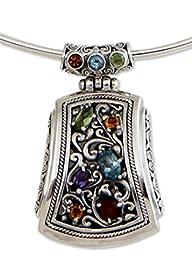NOVICA Multi-Gem Citrine .925 Sterling Silver Collar Necklace 'Treasure of Waturenggong'