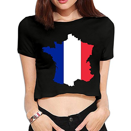 CAAK Women's Euro 2016 France Love My Country French Crop (Boy French Borders)