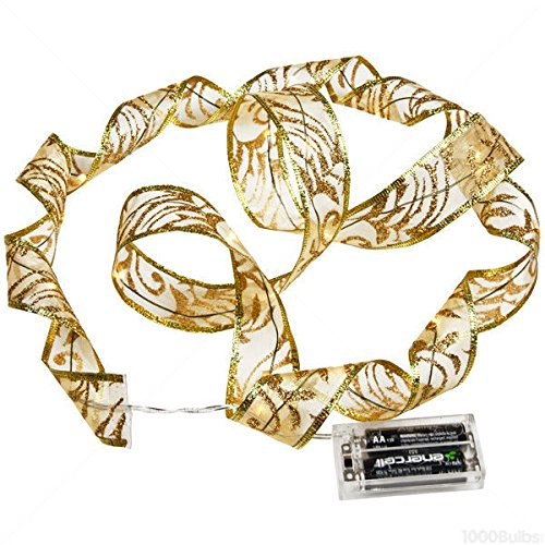 4in Wire Leads (6 ft. Lighted Length - 1.5 in. Width - GOLD Ribbon - (18) Warm White LEDs - 4 in. Battery Lead Wire)
