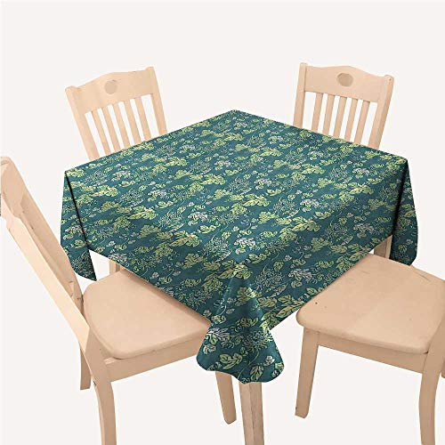 Leaves Reusable Tablecloth Pale Colored Foliage with Curly Stems Abstract Illustration of NaturePale Green Teal White Square tablecloths W50 xL50 inch