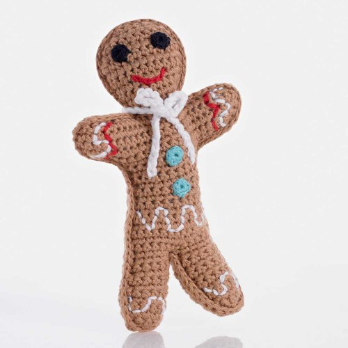 Pebble | Handmade Gingerbread Rattle - Brown | Crochet | Fair Trade | Pretend | Imaginative Play | Christmas | Holiday Baking | Machine Washable