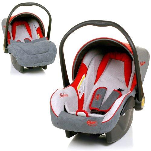 Babyschale DELUXE Autositz Babytrage + Fußsack & Sonnendach (ROT / GRAU / BEIGE)