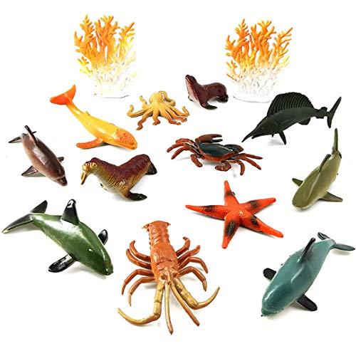 (HUHKNDS Shark Fish Dolphin Lobster Crab Octopus Figurine Animal Model Home Decor Miniature Fairy Garden Decoration Accessories Modern 12 pcs animal-003)