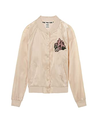 00f751353 Victoria's Secret PINK Satin Bomber Jacket Stone (Small) at Amazon ...