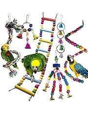 Giocattoli Pappagallo di Uccelli, PietyPet Colorato Uccello Giochi da Masticare Altalena Appesa Giocattoli Gabbia, Scaletta colorato giocattolo per Piccoli uccelli Parrocchetti, 6 Pezzi