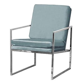 Mr.do SAMT Sessel Mintgrün Grün Stuhl Loungesessel Armlehnenstühle  Polsterstuhl Skandinavisches Design Mit Chrom Silber