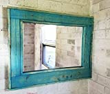 Renewed Décor Herringbone Reclaimed Wood Mirror in AQUA Stain - Large Wall Mirror - Rustic Modern Home - Home Decor - Mirror - Housewares - Woodwork - Frame - Stained Mirror