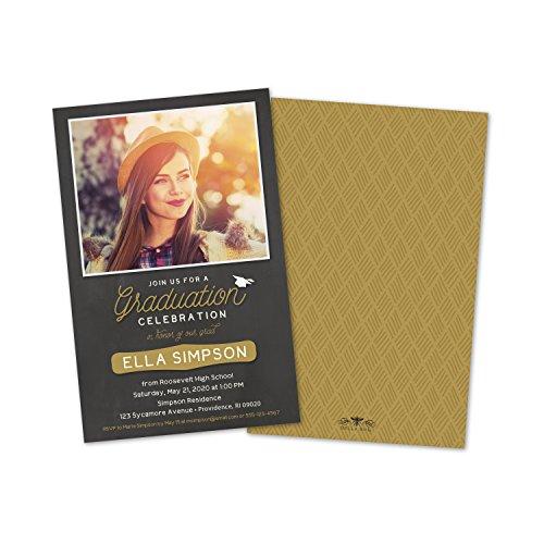 (Modern Black & Gold Personalized Photo Graduation Invitation)