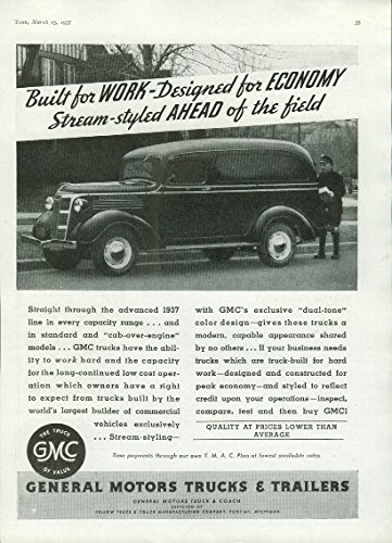 (Built for work designed for economy GMC Panel Truck ad 1937 T)