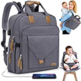 Diaper Bag Backpack with Child Safety Seat 2 in 1 Multifunction of Multiple Pockets Stroller Luggage Straps USB Port Large Capacity MUBYTREE (Dark Gray)
