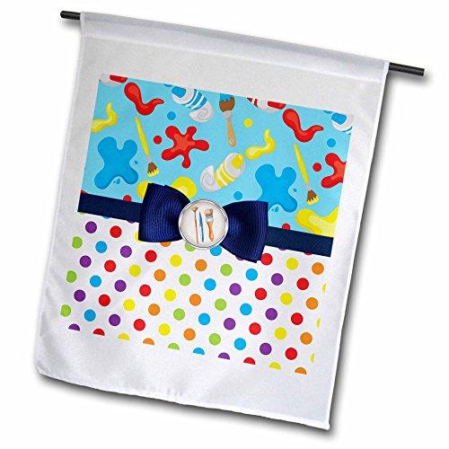 3dRose Anne Marie Baugh - Patterns - Paint Brushes, Paint Tubes, Paint Splats Over Polka Dots With A Bow - 12 x 18 inch Garden Flag (Splat Garden Art)
