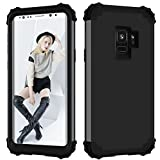 Shockproof Case for Samsung Galaxy S9,Gostyle Luxury Detachable 3 in 1 Hybrid Hard PC + Soft Silicone Drop Protection Armor Case Anti-Scratch Bumper Full Protection Cover,Black