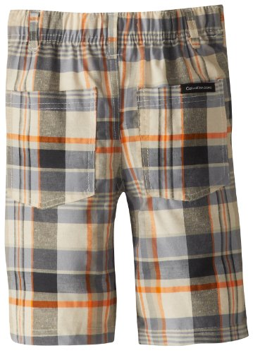 Calvin Klein Boys 2-7 V-Neck Tee with Plaided Short