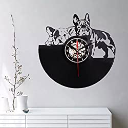 Vovomay Vintage Black Dog Wall Clock, Non Ticking Excellent Accurate Sweep Movement, Modern Decorative for Kitchen, Living Room, Bathroom, Bedroom, Office,School Clock (Black)