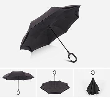 Grandes Manos Libres De Espalda A Espalda Paraguas C-Tipo Permanente Doble Derecho Paraguas De