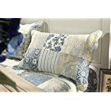 Tache 3 Piece Floral Seaside Villa Reversible Bedspread Quilt Set, Queen