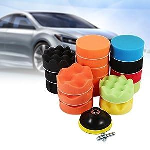 Qiilu 19Pcs 3'' Polishing Pads Kit Sponge Waxing Buffing Foam Polish Pad Set Car Sanding, Polishing, Waxing, Sealing Glaze (17 Polishing Pads+ 1 M