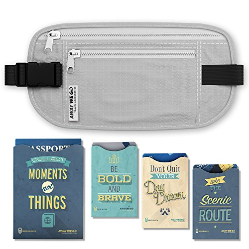 AwayWeGo Money Belt Travelers Feel Secure from Identity Theft with RFID Blocking Passport and Credit Card Protector Sleeves