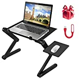 Adjustable Laptop Stand, Portable Aluminum Laptop/Computer/Lap Table Desk Tray for Bed/Sofa/Couch/Office, Ergonomic Design with 2 CPU Cooling Fans and Mouse Pad (Black)