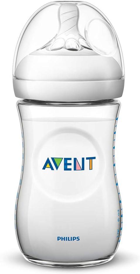 Biber/ón de 260 ml con tetina con flujo para reci/én nacidos color azul Philips Avent Biber/ón Natural SCF035//17 0/% BPA 1m+ dise/ñada para imitar el tacto del pecho