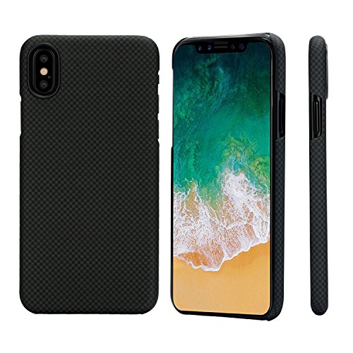 pitaka Slim Case Compatible with iPhone X 5.8, MagCase Aramid Fiber [Real Body Armor Material] Phone Case,Minimalist Strongest Durable Snugly Fit Snap-on Case - Black/Grey(Plain)