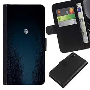 iBinBang / Flip Funda de Cuero Case Cover - Moon Sky Woods Halloween Black - Sony Xperia Z3 D6603 / D6633 / D6643 / D6653 / D6616