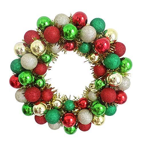 Christmas Colorful Balls Wreath Door Wall Ornament Creative Garland Home Wedding Decoration (Red/Green/Gold) (Wreath Ball)