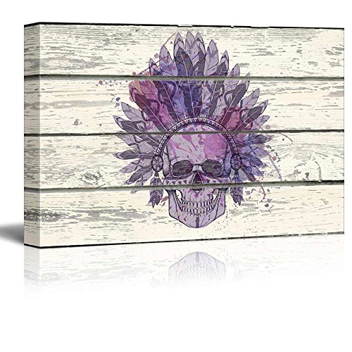 Decorative Indian Chief Skull Headdress on a Rustic Wooden Background