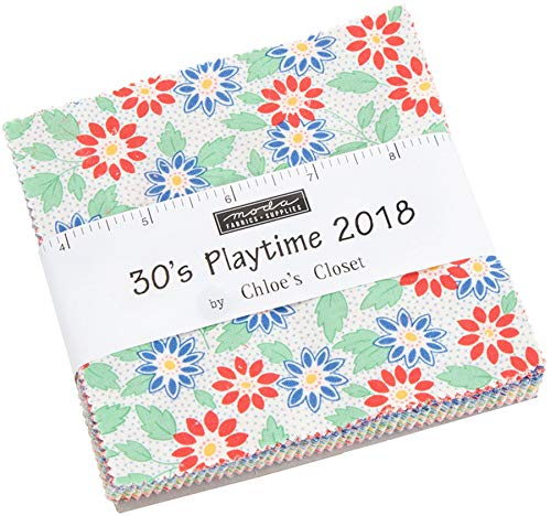 - 30's Playtime 2018 Charm Pack by Chloe's Closet; 42-5 Inch Precut Fabric Quilt Squares