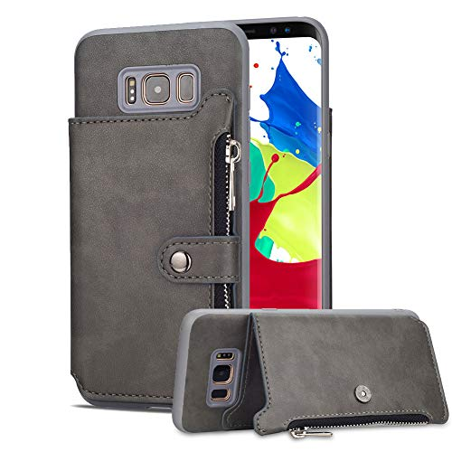 Aearl Samsung Galaxy Note 9 Zipper Wallet Case,Galaxy Note 9 Leather Case with Card Holder,Flip Folio Credit Card Slot Money Pocket Magnetic Detachable Buckle Wallet Phone Case for Women Men-Gray by Aearl