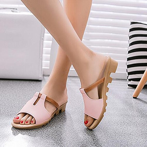 Angelliu Womens PU Leather Non-Skiding Constract Color Summer Slippers Sandals Pink xFRONDJO8X