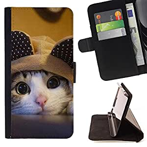 King Air - Premium PU Leather Wallet Case with Card Slots, Cash Compartment and Detachable Wrist Strap FOR Apple iPhone 6 6S 4.7 - Cat Cartoon Cute