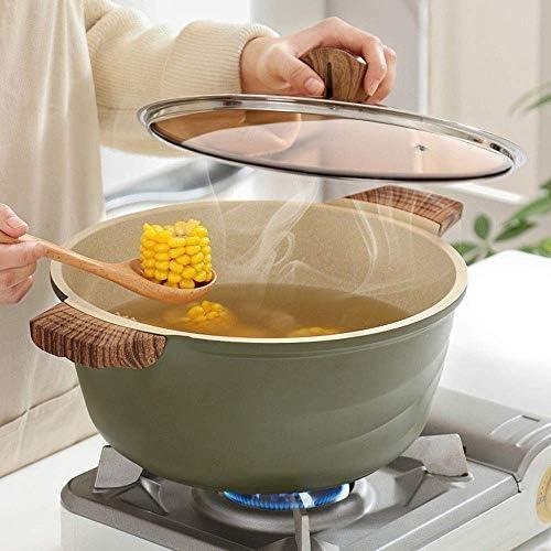Pot à Soupe en Pierre Maifan - Aluminium anodisé Dur, avec Couvercle, adapté pour la Cuisson de Soupe aux Nouilles - Va au Lave-Vaisselle, cuisinière à Induction à gaz Universelle