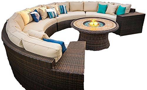 Outdoor Patio 5 Piece Fire Pit Seating Set with Cushions Monte Carlo