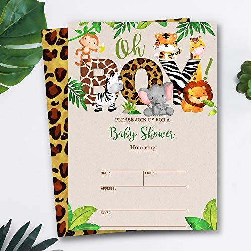 Mocsicka Safari Baby Shower Invitations Oh Boy Jungle Animals Baby Shower Party Invite, 20 Fill in Invitations and Envelopes