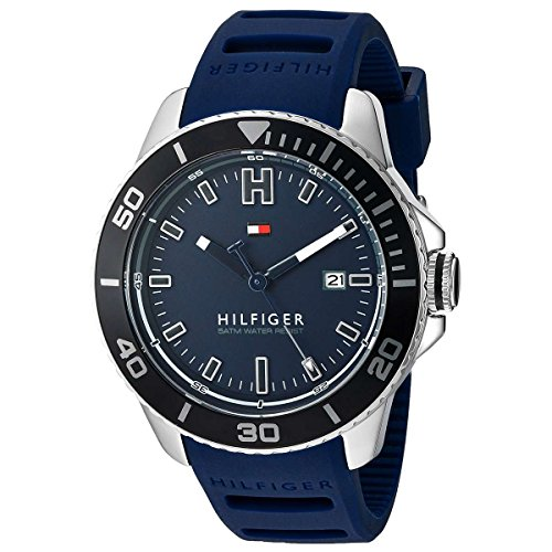 Tommy Hilfiger Men's Quartz Stainless Steel and Silicone Automatic Watch, Color:Blue (Model: 1791263)
