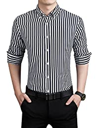 Men's Casual Business Vertical Striped Button Down Long Sleeved Dress Shirts