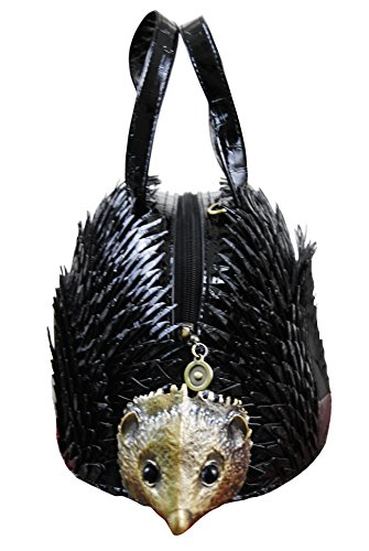 Ladies Bag Handbag Shaped Black Shoulder Novelty Hedgehog q87w4t