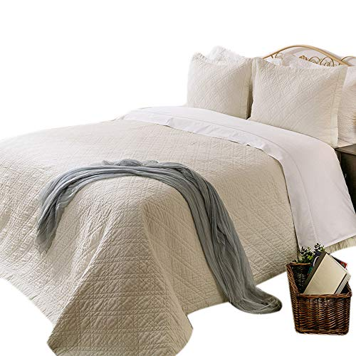 """- Elegant Life Solid Color Bed Quilt Minimal Linen &Cotton Diamond Stitching Bedspread Coverlet Quilts, Queen(90""""x95""""), Ivory"""