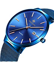 Mens Black Ultra Thin Watch Minimalist Fashion Luxury Wrist Watches for Men Business Dress Waterproof Casual Quartz Watch for Man with Stainless Steel Mesh Band