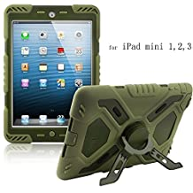 iPad Mini 1,2,3 Case,Y&M(TM) PepKoo Spider Kids Proof Lifeproof Extreme Military Heavy Duty Waterproof Dust/Shock Proof with stand Hang Cover Tablets Hybrid Hard Army Case For iPad Mini1/Mini2/Mini3 olive/olive