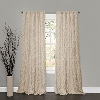 Lush Decor Lake Como Window Curtain Panel, 84 by 50-Inch, Taupe