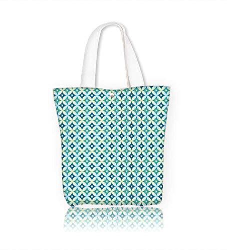 (Reusable Cotton Canvas Zipper bag abstract vintage geometric paper seamless Tote Laptop Beach Handbags W12xH7.8xD3 INCH)