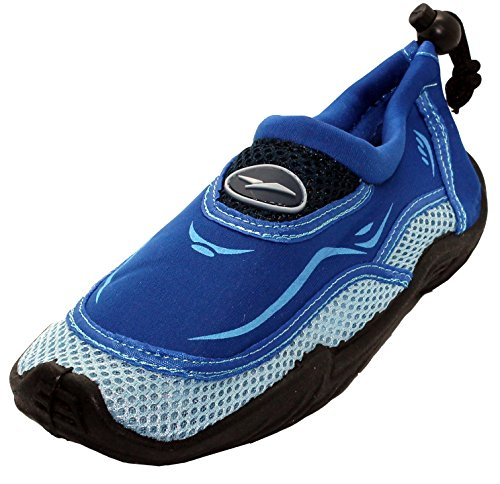 Mens & Womens Aqua Water Shoes - Beach SLIPPERS Yoga Exersize Shoes with Drawstring closure (9, Women - Blue)