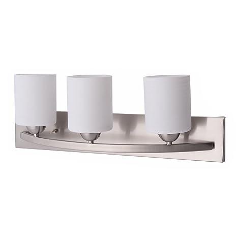 Tangkula Bathroom Vanity Lamp Brushed Nickel Wall Mounted Vanity Lighting  Fixture With White Glass Shade Wall