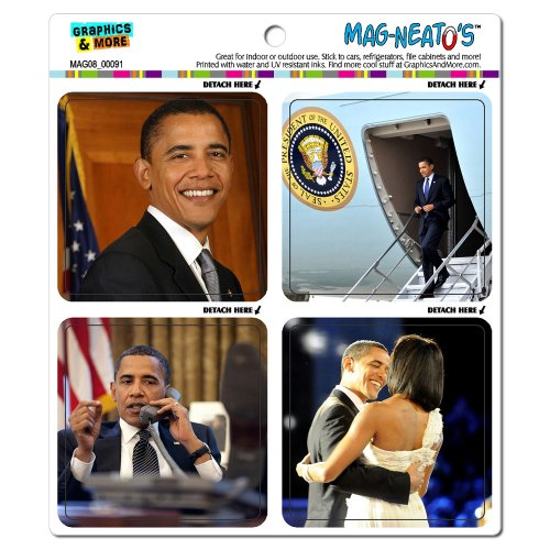 Graphics and More President Barack Obama Pictures Potus United States Change Michelle Mag-Neato's Refrigerator Locker Vinyl Magnet Set (Obama Refrigerator Magnet)