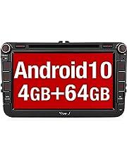 Vanku Android 10 radio samochodowe do VW Radio z nawigacją 64 GB + 4 GB PX6 CD DVD Player obsługuje Qualcomm Bluetooth 5.0 DAB + WiFi 4G USB MicroSD 8 cali ekran IPS 2 DIN
